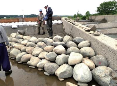 背後をコンクリートで固め石を組んでいく